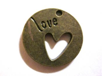 Bronze metal Round 'LOVE' Charm/Pendant with cut out heart